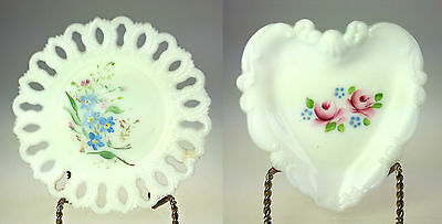 Hand Painted White Milk Glass Pierced Lace Edge Plate Set of 2 Heart Round