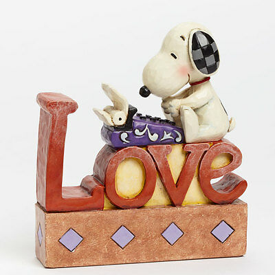 Jim Shore Peanuts Love Typing Snoopy Love Word Plaque Figurine 4042379 New