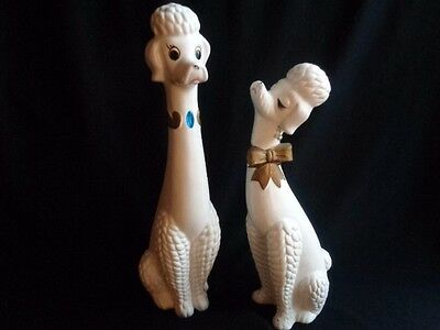 """Pair Of Kitschy Japan Ceramic Poodle Dogs- 13"""" & 15""""- Mid Century"""