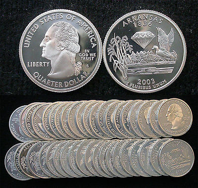 Roll of 40 2003-S Proof Arkansas 90% Silver Quarters