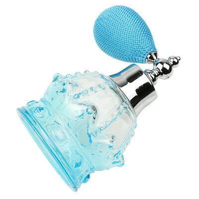 Crystal Perfume Bottle Glass 100ml w/ Blue Bulb Spray Atomizer Wedding Gifts