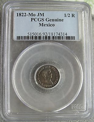 1822 Mo JM Mexico Empire Of Iturbide 1/2 Real PCGS-Genuine
