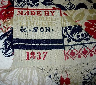 Pennsylvania German 1837 Jaquard Coverlet Beiderwand Seamed  Signed Americana