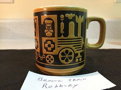 Vintage 72 Hornsea England Coffee Mug Cup Locomotive Train Robber John Clappison