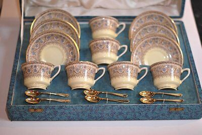 Royal Worcester Lady Evelyn boxed set of 6 tea cups saucers tea spoons vintage