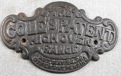 The Cole's Patent High Oven Range Cast Iron Stove Emblem Name Plate