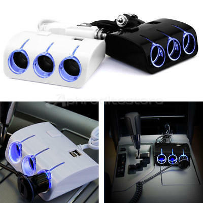 3 Way DC 12V/24V Car Cigarette Lighter Socket Splitter Dual USB Charger Adapter
