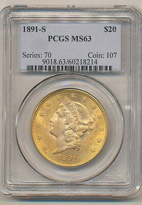 1891-S PCGS MS63 $20 Liberty Double Eagle Gold Coin VERY NICE
