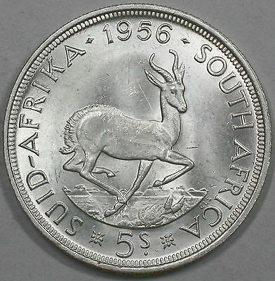1956 SOUTH AFRICA  Silver 5 Shillings Springbok Crown Coin 100K (17041536R)