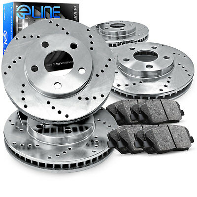 For Ford Explorer, Flex, Taurus Front Rear  Drilled Brake Rotors+Ceramic Pads