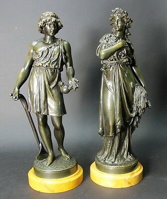 Pair of Early 19th C. FRENCH BRONZE Sculptures of Harvesters  c. 1850  antique