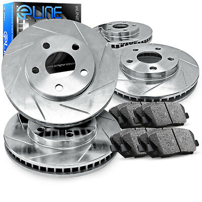 For 2006-2011 Buick Lucerne Front Rear Rear Slotted Brake Rotors+Ceramic Pads