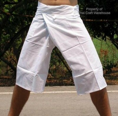 Short Leg Fair Trade Thai Fisherman Pants - White