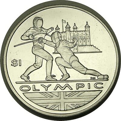 elf British Virgin Islands 1 Dollar 2012 Olympic Games Fencing