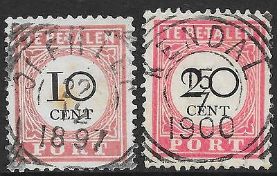 "Netherlands Indies stamps 1892 NVPH Due P16fd+18fd ERROR ""E.T.""  CANC"