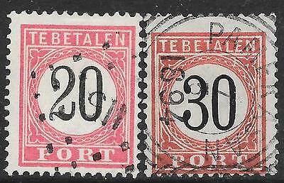 "Netherlands Indies stamps 1882 NVPH Due P9fc+P10fc  ERROR ""Barst"" CANC  VF"