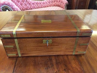 Antique 19th Century Victorian Walnut Campaign Writing Box With Fitted Interior