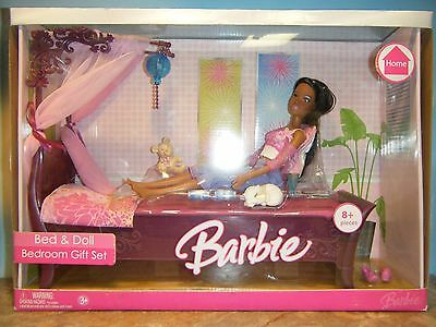 2006 Barbie Bed & African American Doll Bedroom Gift Set  *new*