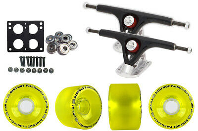 Paris 180 Black Longboard Trucks Wheels Package Bigfoot 70mm Pathfinders Yellow