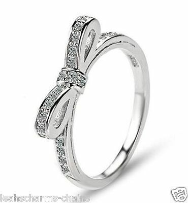Genuine Delicate Bow Design Ring Sterling Silver Stackable Sparkling Bow Knot
