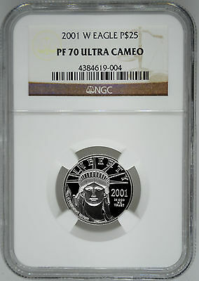 2001-W NGC PF70 1/4 oz Proof Platinum Eagle $25