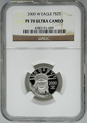 2000-W NGC PF70 1/4 oz Proof Platinum Eagle $25
