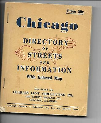 Chicago Directory of Streets and Information With Indexed Map 1955