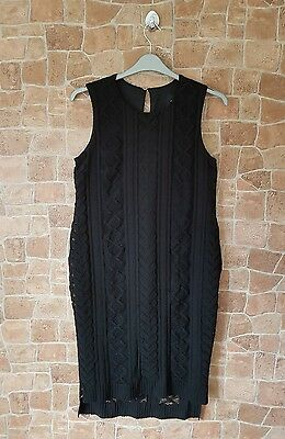 Ladies ASOS Maternity Black Lace Style Midi Dress UK 10 Summer Party Occasion