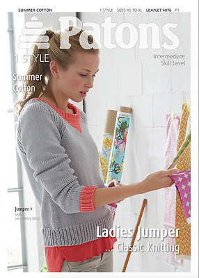 Patons Ladies Jumper Summer Cotton Knitting Pattern 4076
