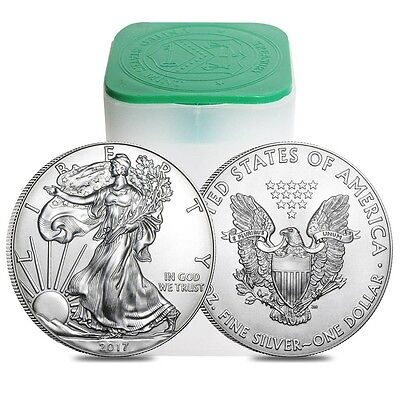Roll of 20 2017 Silver American Eagles 1oz .999  $1 Coins BU!