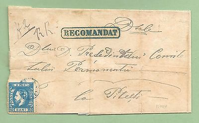 Romania: 1872, Registered Cover from Curtea de Arges to Pitesti, FAULTS.