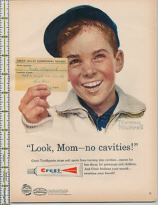 Crest Toothpaste Tooth Paste Norman Rockwell 1958 magazine print ad