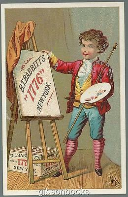 Victorian Trade Card for B.T. Babbit's Soap with Little Boy Artist with Poem