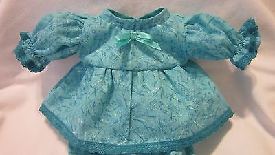 """Turquoise Print Dress/bloomers, fits 10"""" Lots to Love Berenguer babies"""