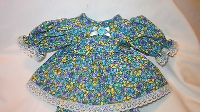 """Teal Floral Print Dress/bloomers, fits 10"""" Lots to Love Berenguer babies"""