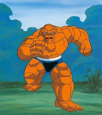 90s MARVEL Fantastic Four THE THING Original Production Animation Cel Art