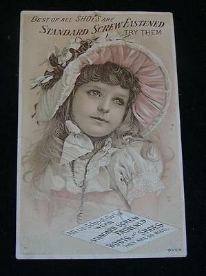"""Antique TRADE CARD """"Standard Screw Fastened Shoes & Boots, Riverside, MA. c1890s"""
