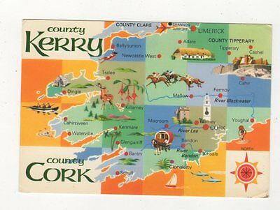 County Kerry Co Cork 1981 Ireland Map Postcard 885a