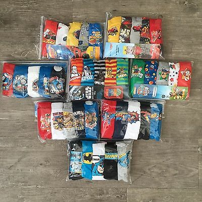 5 x Pairs Boys Paw Patrol Star Wars Cars Underwear Pants Briefs Baby Age 1 - 13