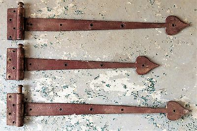 Great Antique Hand Forged RED Iron Strap Hinges Set of 3 Spade/Heart Tips