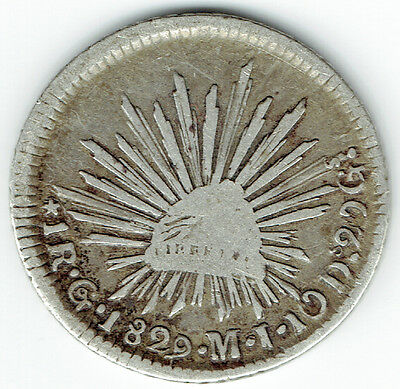 MEXICO 1829 Go MJ SMALL EAGLE 1 REAL (NICE PROBLEM FREE COIN)