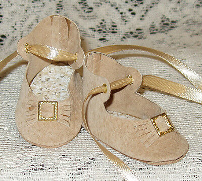 "Handmade Leather Doll Shoes ~ German Style ~ 2 1/2"" x 1 1/4""   Tan Suede"