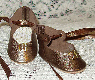"Handmade Leather Doll Shoes ~ German Style ~ 2 1/2"" x 1 1/4"" Brown Pearl"