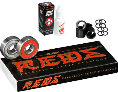 BONES Skateboard Bearings REDS with Spacers, Washers, and Speed Cream Lube