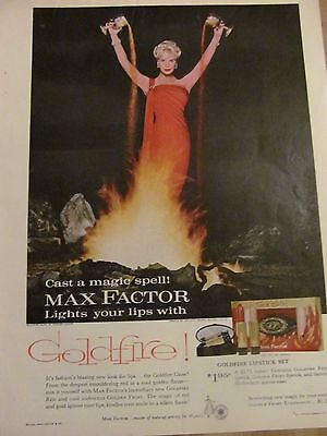 Max Factor, Goldfire Lipstick, Full Page Vintage Print Ad