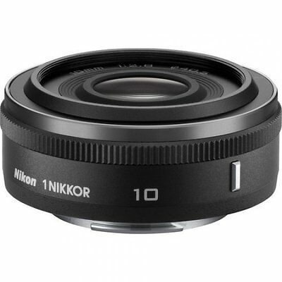 NEW Nikon 1 Nikkor 10mm f/2.8 Compact Wide-Angle Photography Camera Lens Black