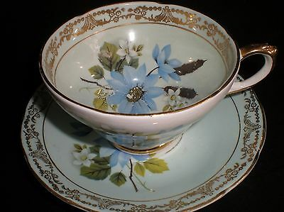 Vintage Royal Sutherland Cabinet Cup & Saucer - Blue With Flowers & Gilding (87)