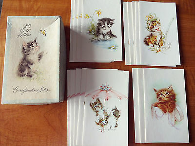 Vintage Unused Original Box Notecards with 4 Styles Adorable Cats Kittens