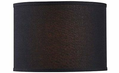 Lamp Shade Iconic Drum Shape Linen Black 14 Inches by Home Decorators Collection