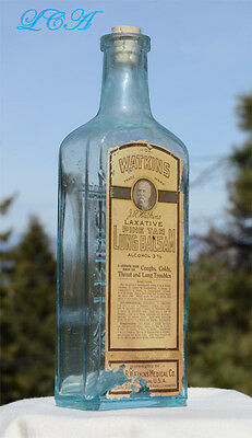 LARGE AQUA antique WATKINS LUNG BALSAM antique BIM labeled bottle PIC of WATKINS
